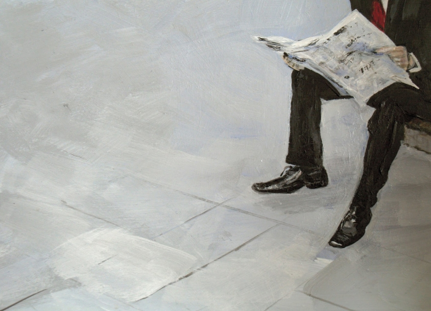 businessman reading by Jan Gawthorpe